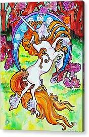 Artsy Nouveau Unicorn Acrylic Print by Jenn Cunningham