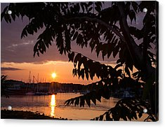 As It Sets Over The Harbor Acrylic Print by Karol Livote