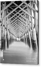 As The Water Fades Grayscale Acrylic Print