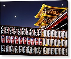 Asakusa Kannon Temple Pagoda And Lanterns At Night Acrylic Print by Christine Till