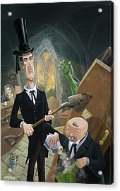 Acrylic Print featuring the digital art Ashes Fun In The Funeral Crypt by Martin Davey