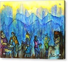 Asheville Drum Circle Acrylic Print by Lizzie  Johnson