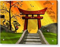 Asian Art Chinese Landscape  Acrylic Print by John Wills