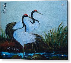 Asian Cranes 2 Acrylic Print by Min Wang