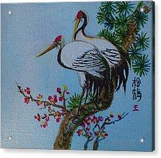 Asian Cranes 4 Acrylic Print by Min Wang