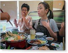 Asian Family Party With Shaby Sukiyaki Set Manu In Restaurant Acrylic Print by Anek Suwannaphoom
