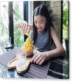 Asian Girl Make Topping For  Mango Bingsu Acrylic Print