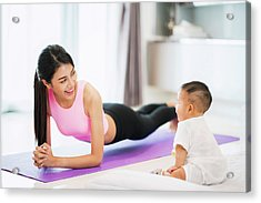 Asian Mother Fit And Play Yoga For Lose Weight Acrylic Print