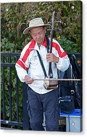 Street Musician Playing Erhu Acrylic Print by Connie Fox