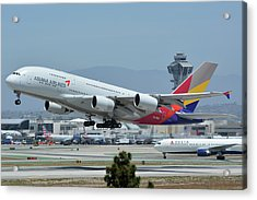 Acrylic Print featuring the photograph Asiana Airbus A380-800 Hl7626 Los Angeles International Airport May 3 2016 by Brian Lockett