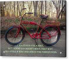 Asked For A Bike Acrylic Print by William Fields