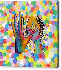 Asl Mother On A Bright Bubble Background Acrylic Print