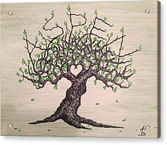 Acrylic Print featuring the drawing Aspen Love Tree by Aaron Bombalicki