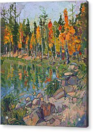 Acrylic Print featuring the painting Aspen Row by Erin Hanson