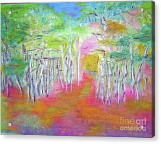 Acrylic Print featuring the mixed media Aspens In Spring by Barbara Anna Knauf