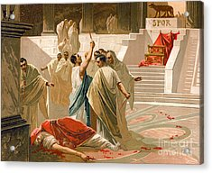 Assassination Of Julius Caesar Acrylic Print by Spanish School