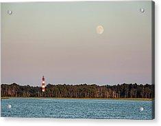 Assateague Light And The Full Moon Acrylic Print
