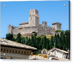 Assisi Italy - Rocca Maggiore Acrylic Print by Gregory Dyer