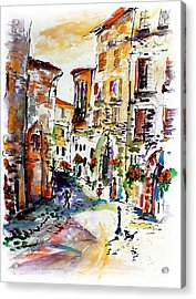 Assisi Italy Old Town Watercolor Acrylic Print