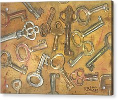 Assorted Skeleton Keys Acrylic Print by Ken Powers