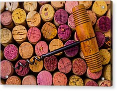Assorted Wine Corks And Corkscrew Acrylic Print by Garry Gay
