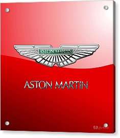Aston Martin - 3 D Badge On Red Acrylic Print by Serge Averbukh