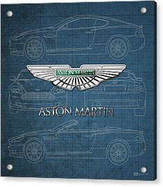 Aston Martin 3 D Badge Over Aston Martin D B 9 Blueprint Acrylic Print by Serge Averbukh