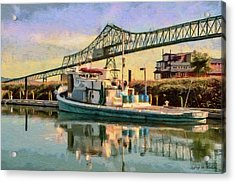 Acrylic Print featuring the painting Astoria Waterfront, Scene 1 by Jeff Kolker