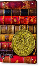 Astrolabe And Old Books Acrylic Print by Garry Gay