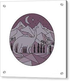 Astronaut Brontosaurus Mountain Moon Circle Mono Line Acrylic Print