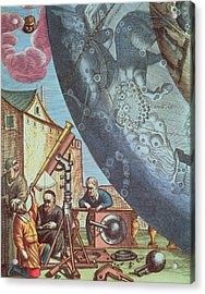 Astronomers Looking Through A Telescope Acrylic Print by Andreas Cellarius