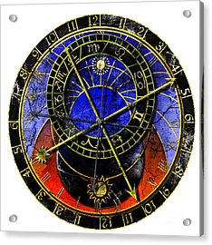 Astronomical Clock In Grunge Style Acrylic Print by Michal Boubin