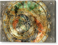 Astronomical Clock In The Old Town Square In Prague Acrylic Print by Brandon Bourdages