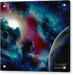 Astronomy Painting Glammed Out Teal Acrylic Print