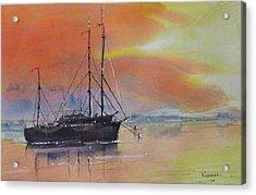 At Anchor At Sunset Acrylic Print