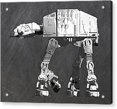 At At Walker From Star Wars Vintage Recycled License Plate Scrap Metal Art Acrylic Print by Design Turnpike