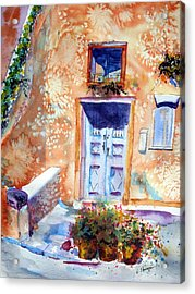 At Home In Santorini Greece  Acrylic Print by Warren Thompson