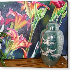 At One With Flowers And Swallows Acrylic Print by Lenore Senior