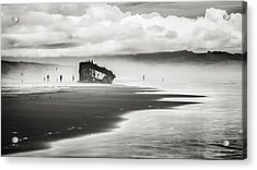 At Peter Iredale Shipwreck Black And White Acrylic Print