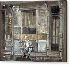 At The Barber Shop Acrylic Print by Marty Garland