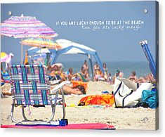 At The Beach Quote Acrylic Print by JAMART Photography