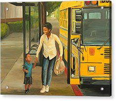 At The Bus Stop Acrylic Print