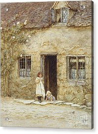 At The Cottage Door Acrylic Print by Helen Allingham