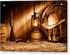 At The Old Ranch - Sepia Acrylic Print by Olivier Le Queinec