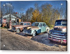 At The Service Station Acrylic Print by Janice Adomeit