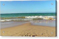 Atardecer Playa El Ultimo Trolly Tranvia Acrylic Print