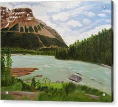 Acrylic Print featuring the painting Athabasca River by Linda Feinberg