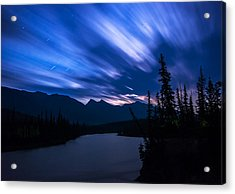 Athabasca River Moonrise Long Exposure Acrylic Print by Cale Best