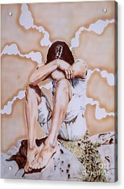 Athabaskan Girl On A Rock Acrylic Print by Ron Bissett