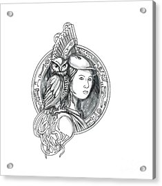 Athena With Owl On Shoulder Electronic Circuit Circle Tattoo Acrylic Print